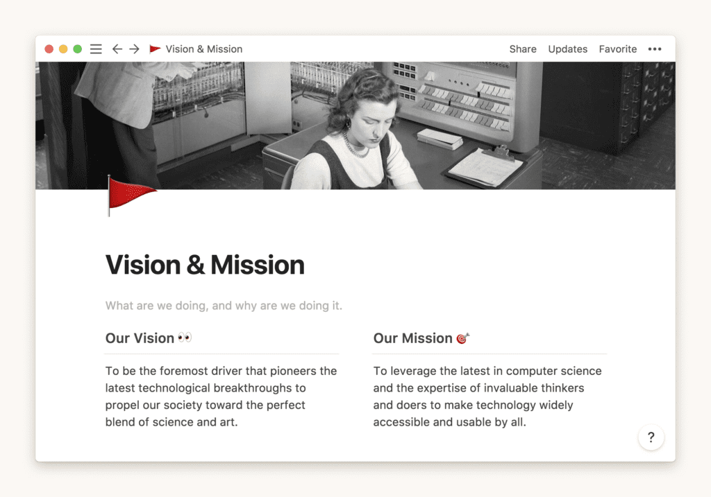 Notion Vision & Mission template
