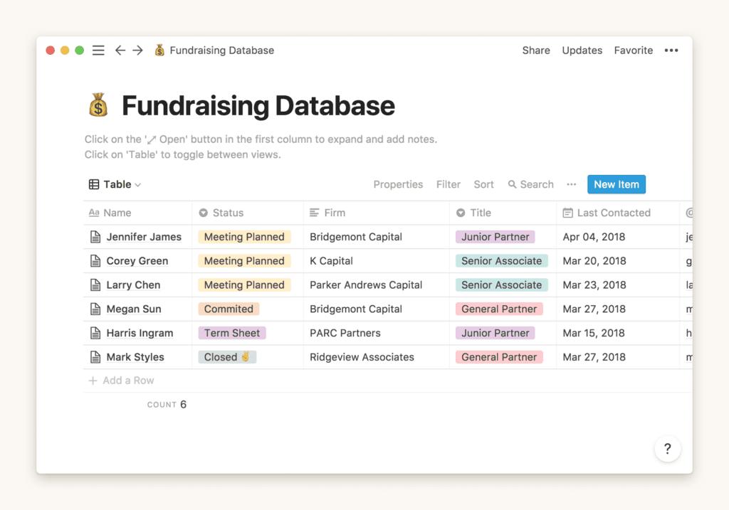 Notion database