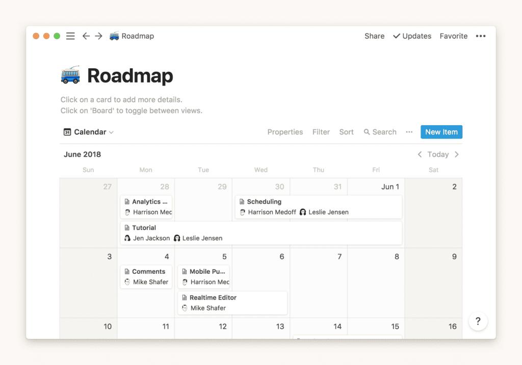 Notion roadmap template